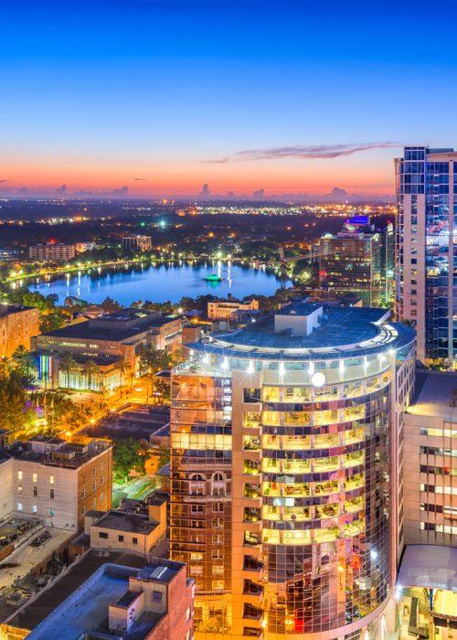 Orlando-Florida-aerial-cityscape-towards-Eola-Lake